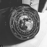 """LUNA ROUND BAG"" Black, witchy purse, full moon print, moon bag"