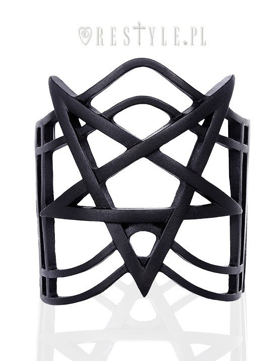 """PENTAGRAM BLACK BRACELET"" Modern bangle, Pentagram jewellery, gothic cuff"