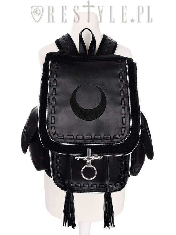 """CRESCENT BLACK BACKPACK"" with pockets, School bag, 90s backpack moon bag"