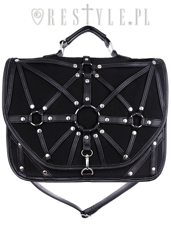 """HARNESS SATCHEL"" Black messenger bag, nugoth briefcase, occult, black fashion"