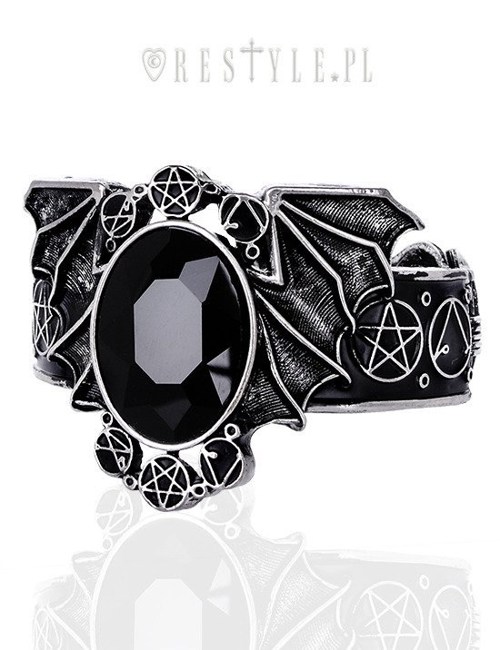 """BAT SILVER BRACELET"" bangle, Necromicon, Pentagram jewellery, gothic cuff"