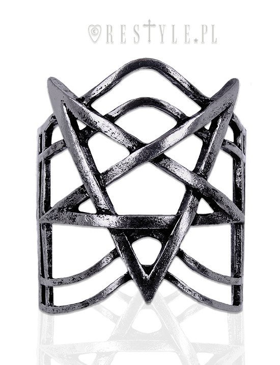 """PENTAGRAM SILVER BRACELET"" Modern bangle, Pentagram jewellery, gothic cuff"