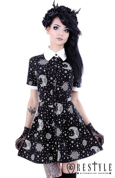 """BABYDOLL DRESS""  White collar dress with moon print, circle, nugoth skirt"