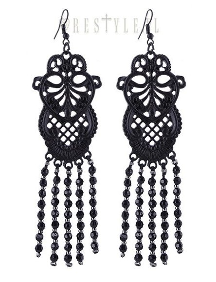 """BLACK LACE EARRINGS"" Lace inspired with black beads, gothic romance"