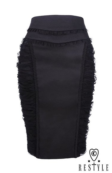 """BLACK MIST SKIRT"" Black pencil skirt with hight waist, tulle drapperies"