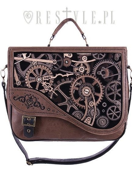 """BROWN MECHANISM"" Steampunk satchel bag irregular briefcase"