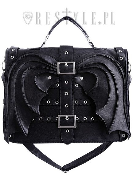 """Bat Wings Bag"" gothic satchel, black briefcase, diabolical, devil"