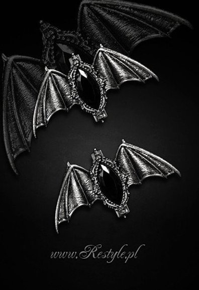 """CARPE NOCTEM"" hairclips, pair of gothic BATS hairclips Black"