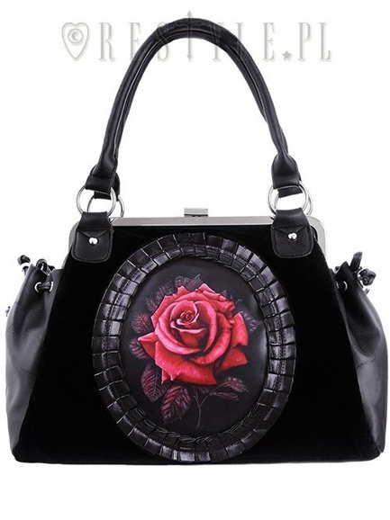 "Cameo bag ""RED ROSE"" Black Velvet, gothic romantic handbag"