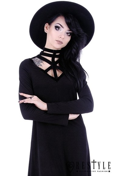 """FUTURISTIC TUNIC"" Black long harness dress, future goth, nugoth blouse"