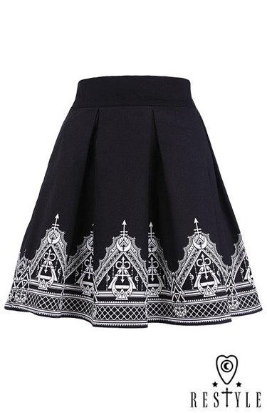 """HENNA SKIRT"" Black pleated short skirt with henna print, moon, symbols"