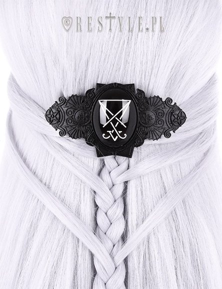 """LUCIFER BLACK HAIRCLIP""  Hair barette, Occult jewellery, Gothic hairclip"