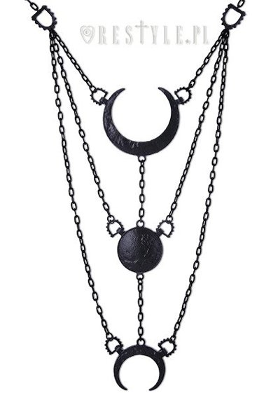 """MOON PHASES BLACK NECKLACE""  Long Crescent pendant, luna"
