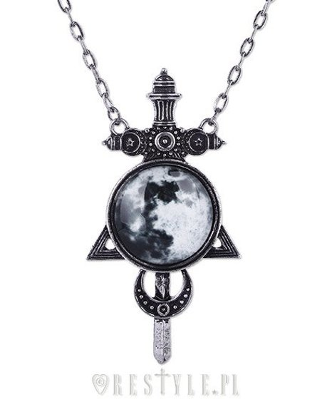 """MOON SWORD pendant""  full moon, delta crescent, occult necklace"
