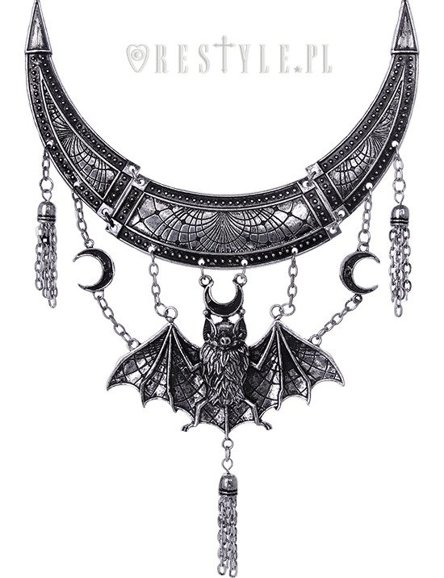 """ORIENTAL BAT SILVER NECKLACE"" statement necklace, crescent, tessels"