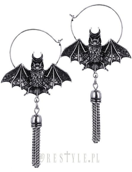 """ORIENTAL BAT SILVER"" hoop earrings, occult jewellery"