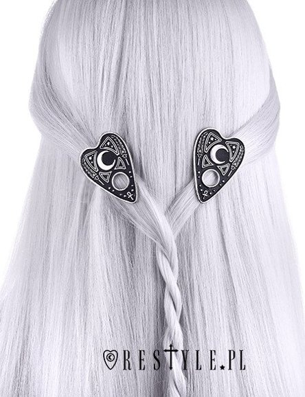 """OUIJA PLANCHETTE HAIRCLIPS"" spirit board, Pair of occult clips, moon"