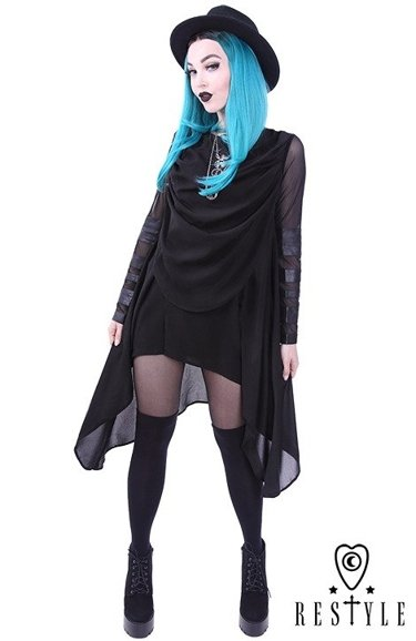 """POSTPUNK TUNIC"" Black long blouse with draperies, asymmetric, oversize"