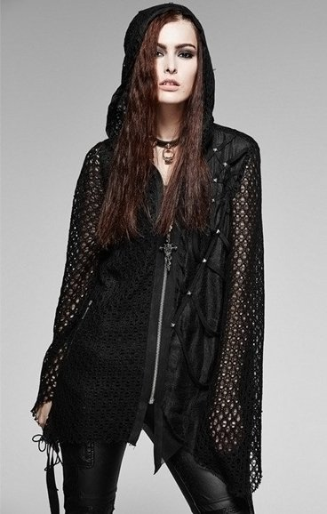 PUNK RAVE Y-570 gothic asymmetric hoodie, oversize