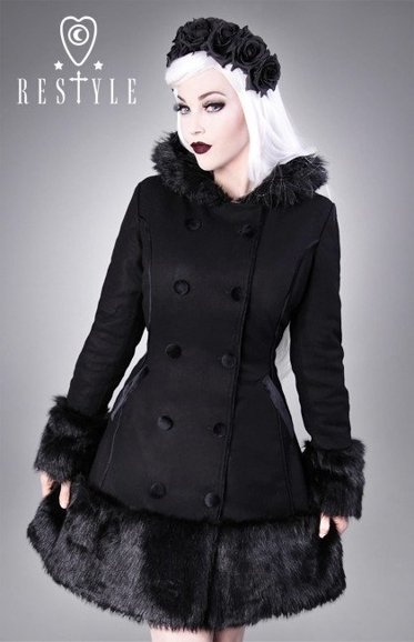 R-34 gothic, winter coat, black wool, gothic lolita, faux fur