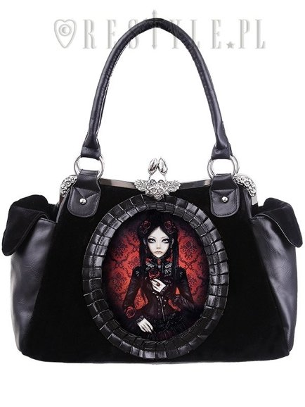 """RED DOLL"" gothic lolita handbag on metal frame, retro style"