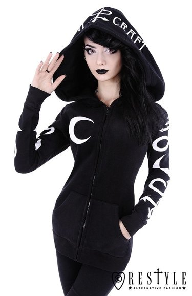 """SYMBOL HOODIE"" Black occult blouse with pockets, oversized hood, witchcraft"