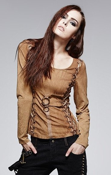 T-378 COFFE PUNK RAVE steampunk blouse acid wash, corset lacing