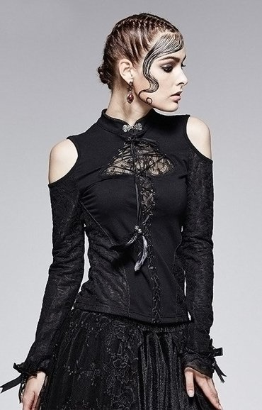T-379 PUNK RAVE neo victorian blouse lace sleeves, gothic shirt