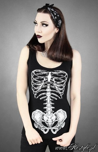 "Tank top ""SKELETON WHITE"" black singlet, gothic"