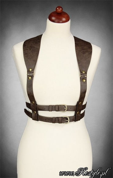 "Underbust harness "" WIDE STRAPS BELT BROWN"" steampunk accessory"