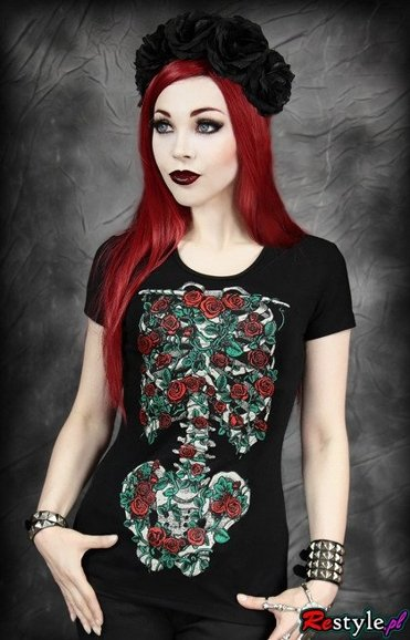 black t-shirt Blooming skeleton with red roses gothic t-shirt