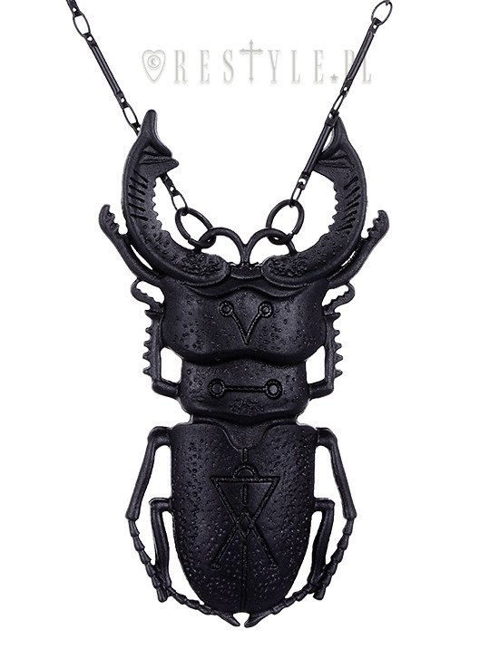 """BEETLE BLACK necklace"" arsenic, occult jewellery, Insect pendant"