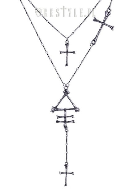 """PHOSPHORUS BONE necklace"" long chain, cross, bones"