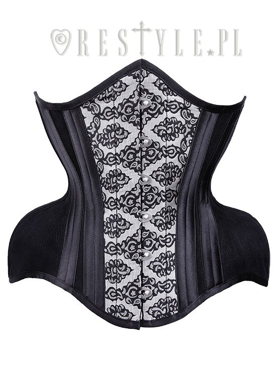 """WH3 Silver Damask Underbust"" brocade dramatic curved corset wide hips"