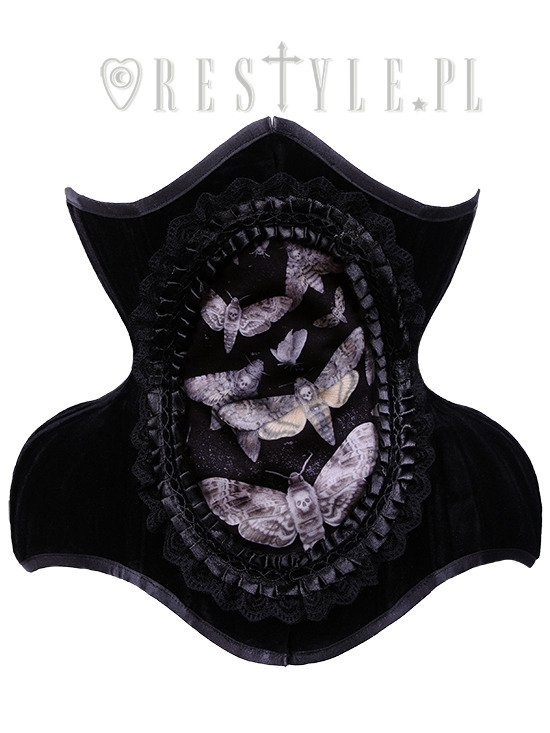 """WH9 Moths Cameo Underbust"" black dramatic curved corset with detachable cameo"