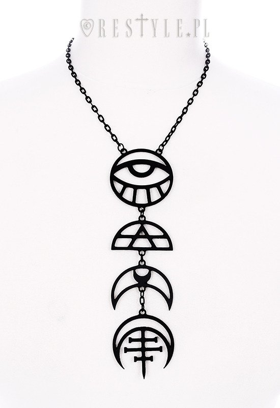 """ALL SEEING MOON BLACK NECKLACE"" Crescent long pendant, occult jewellery, luna"