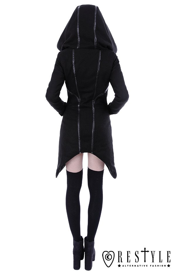 """ASSASSIN COAT"" Black gothic winter coat with pockets, huge hood, jacket"