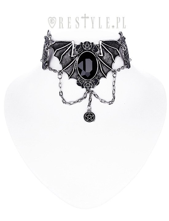 """BAT CHOKER SILVER""  Necronomicon collar, occult jewellery, Bat necklace"