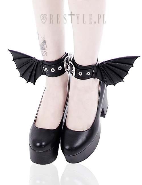 """BAT CUFFS"" Black gothic bracelets with bat wings, pair of cuffs, gothic shoes accesory"