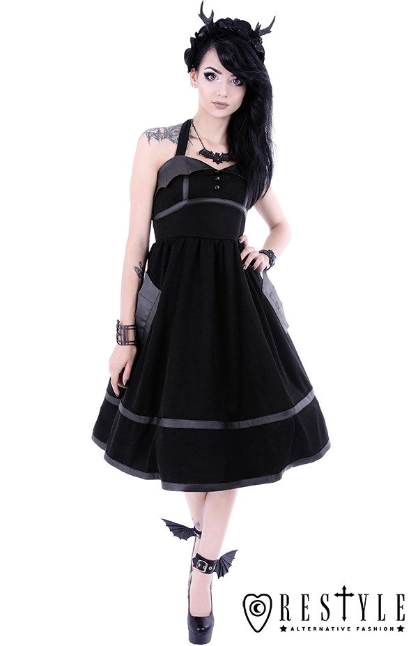 """BAT DRESS"" Black gothic dress with bat wings, 50' style, retro skirt"