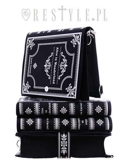 "BLACK BOOK bag ""Alice in Wonderland"" gothic lolita handbag, Lewis Carroll"