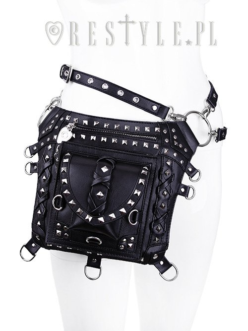 """BLACK STUDDED HOLSTER BAG"" Gothic bag, pocket belt, utility purse"