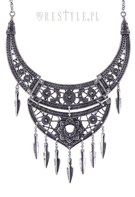 """BOHO SILVER NECKLACE"" oriental pendnat, statement choker, moon"