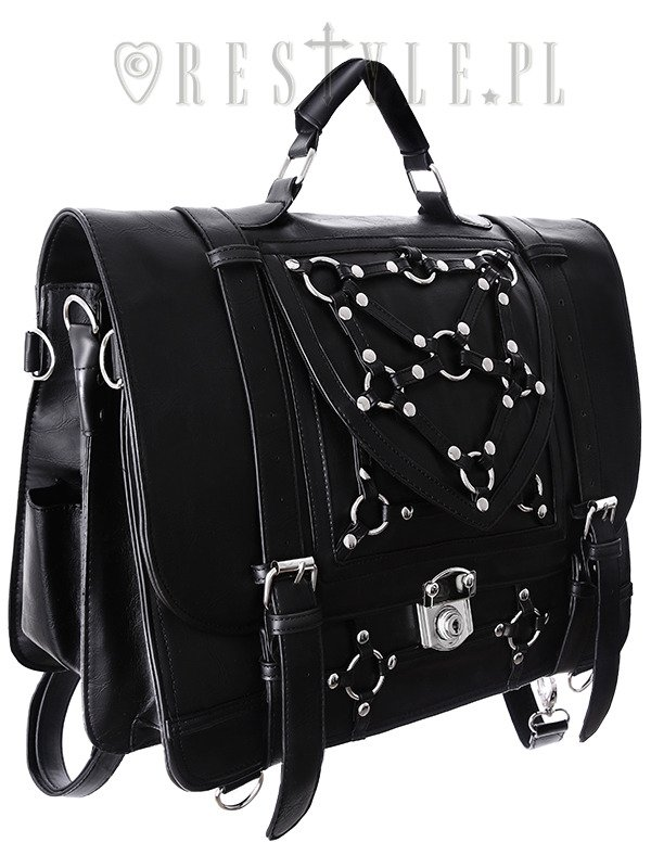 """BONDAGE MESSENGER"" Bag & Bacpack, black satchel, School bag, 90s briefcase"