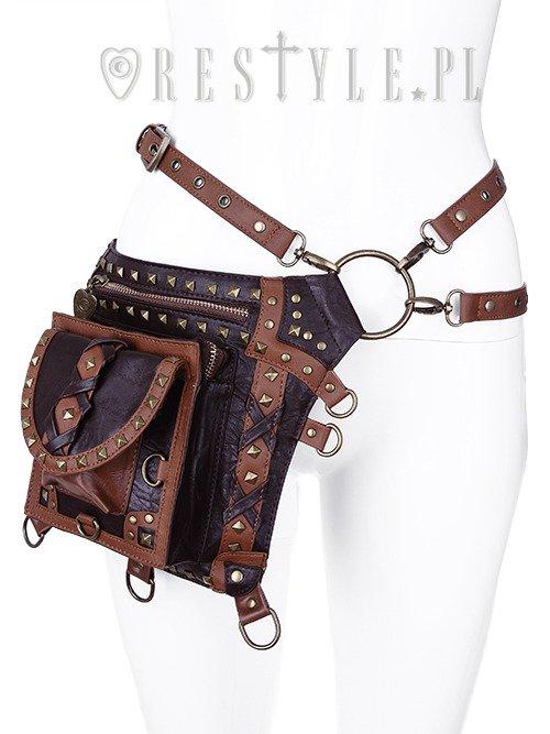 Steampunk bag brown pocket belt brown studded holster - Steampunk bett ...