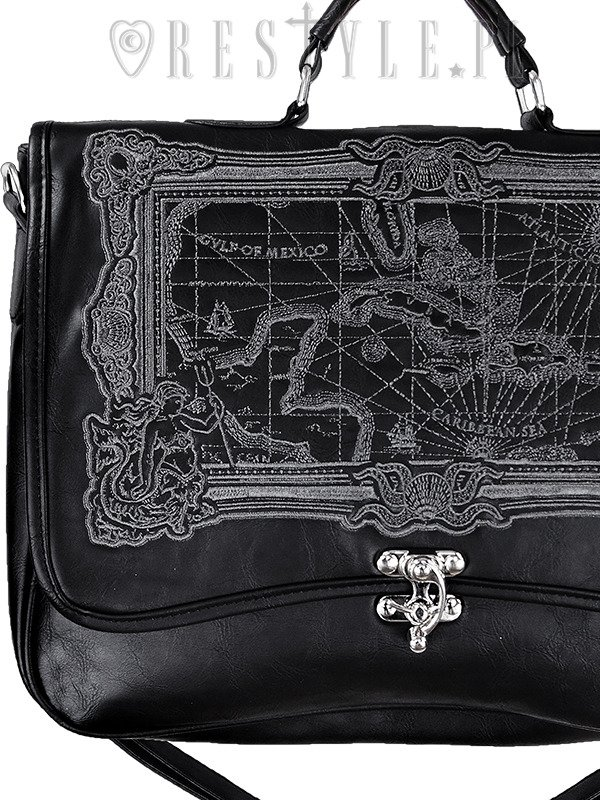 "Black Briefcase ""MAP BLACK"" gothic satchel bag A4 MAP of Caribbean sea"