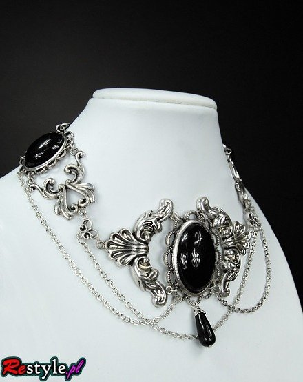 Black Victorian choker with black cabochons - 0