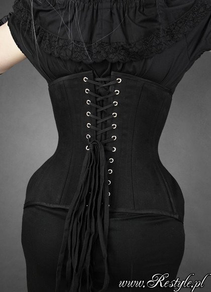 "Black cotton underbust ""WIDE HIPS MATT"" hourglass corset"