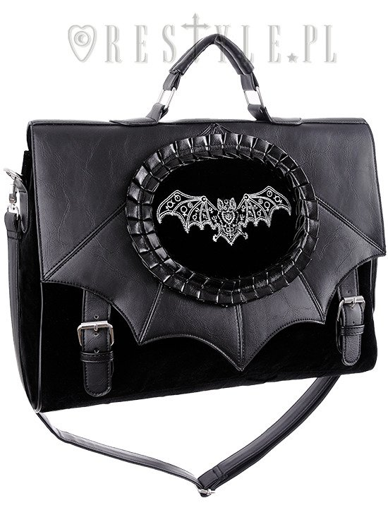 "Briefcase ""MAGIC BAT"" satchel black gothic cameo bag, bat wings handbag A4"