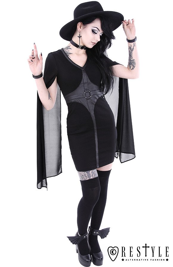 Pencil Gothic Dress Leather Straps O Rings Long Sleeves